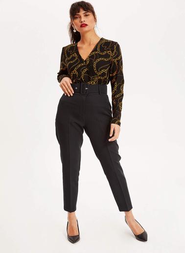 DeFacto Zincir Desenli V Yaka Uzun Kollu Bluz Siyah